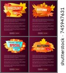 set of leaflets with foliage... | Shutterstock .eps vector #745947631