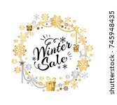winter sale poster in... | Shutterstock .eps vector #745948435
