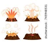 volcanic eruption stages vector ... | Shutterstock .eps vector #745948531