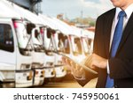 logistic concept  manager... | Shutterstock . vector #745950061