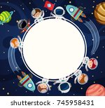 border template with astronauts ... | Shutterstock .eps vector #745958431