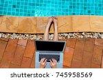 woman bikini using laptop... | Shutterstock . vector #745958569