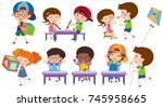 many children playing and... | Shutterstock .eps vector #745958665