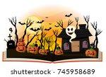halloween book with jack o... | Shutterstock .eps vector #745958689