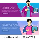 guy showing tablet screen app... | Shutterstock .eps vector #745964911