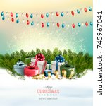 holiday christmas background... | Shutterstock .eps vector #745967041