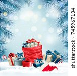 holiday christmas background... | Shutterstock .eps vector #745967134