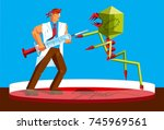 scientist fighting a virus with ... | Shutterstock .eps vector #745969561