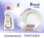 dishwashing liquid soap with... | Shutterstock .eps vector #745974355