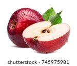 red apple with half in water... | Shutterstock . vector #745975981