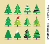 different christmas tree set ... | Shutterstock .eps vector #745988317