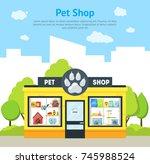 Stock vector cartoon pet shop building card poster exterior facade domestic animal store on a urban street 745988524