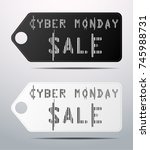 set of 2 cyber monday banners... | Shutterstock .eps vector #745988731