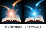 two books with bright light... | Shutterstock .eps vector #745991035