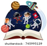 book about astronomy with... | Shutterstock .eps vector #745995139