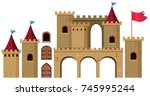 castle towers on white... | Shutterstock .eps vector #745995244