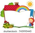 cute girl forest template | Shutterstock .eps vector #745995445