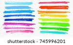highlight brush underline hand... | Shutterstock .eps vector #745996201