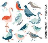colorful doodle bird set.... | Shutterstock .eps vector #746000965
