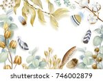 watercolor flowers dry seed... | Shutterstock . vector #746002879