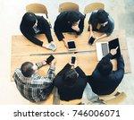 top view startup diversity... | Shutterstock . vector #746006071
