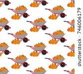 pumpkin harvest pattern... | Shutterstock .eps vector #746006179