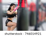 woman execute exercise in... | Shutterstock . vector #746014921