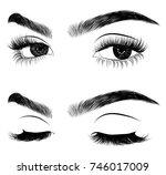 hand drawn woman's fresh makeup ... | Shutterstock .eps vector #746017009