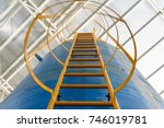 ladder of water tank system ... | Shutterstock . vector #746019781