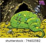 Cartoon Dragon Sleeping On A...