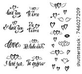 i love you. vector set of hand... | Shutterstock .eps vector #746027209