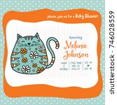 baby shower card template with... | Shutterstock .eps vector #746028559
