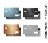 illustration of credit card set....   Shutterstock . vector #746035084