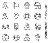 thin line icon set   pointer ... | Shutterstock .eps vector #746043889