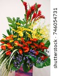 Small photo of A mixed flower bouquet - flower design, flower decoration - birthday occasion, wedding anniversary, celebrating occasion or funeral occasion