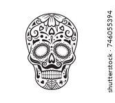 Sugar Skull. Black Tattoo....