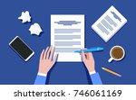 writer writing on paper sheet... | Shutterstock .eps vector #746061169