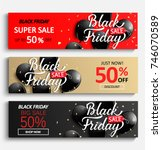 set of sale banners for black... | Shutterstock .eps vector #746070589