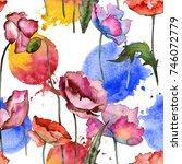 wildflower poppy flower pattern ...   Shutterstock . vector #746072779