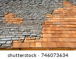 roof construction site. removal ... | Shutterstock . vector #746073634