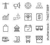 thin line icon set   lighthouse ... | Shutterstock .eps vector #746073889