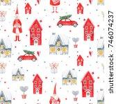 watercolor christmas pattern ...   Shutterstock . vector #746074237
