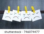 sad faces drawn on notes  dark... | Shutterstock . vector #746074477