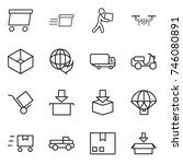 thin line icon set   delivery ... | Shutterstock .eps vector #746080891