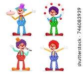circus clowns set vector.... | Shutterstock .eps vector #746083939