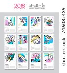 creative calendar template for... | Shutterstock . vector #746085439