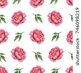 watercolor seamless floral... | Shutterstock . vector #746098219