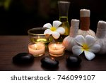 spa still life with white... | Shutterstock . vector #746099107