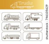 hand drawn doodle truck set.... | Shutterstock .eps vector #746105629