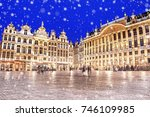 grand place in brussels on a... | Shutterstock . vector #746109985